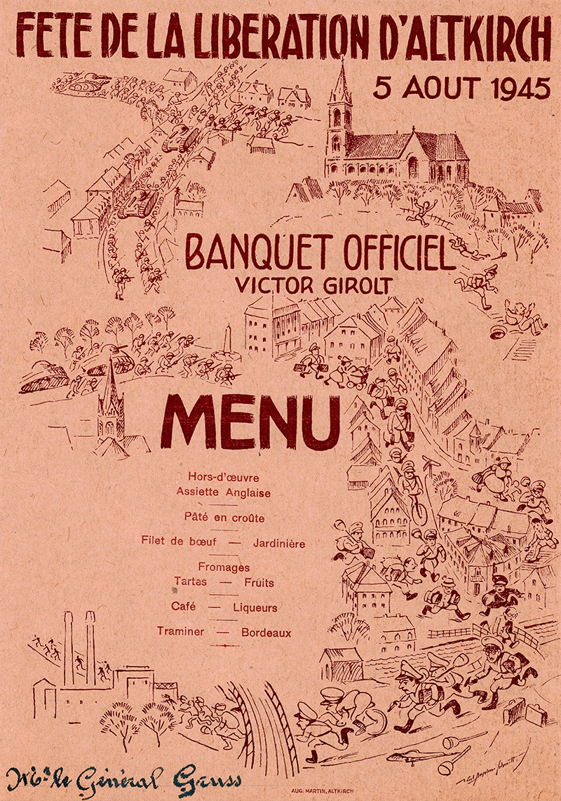 Menu from the General Hospital 21 archival collection, 1945