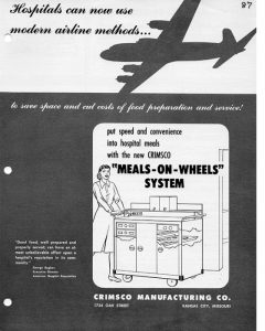 "Crimsco Manufacturing Company ad for its ""Meals-on-Wheels"" food service."
