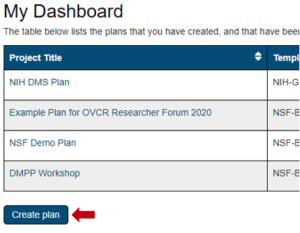 DMPTool Create Plan