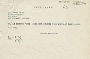 Cablegram, Cowdry to Oskar Vogt, 5 June 1951, EV Cowdry Papers