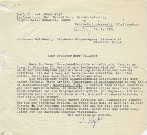 Letter, Oskar Vogt to EV Cowdry, 31 May 1951, EV Cowdry Papers