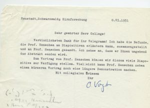 Letter, O. Vogt to Cowdry, 8 June 1951, EV Cowdry Papers