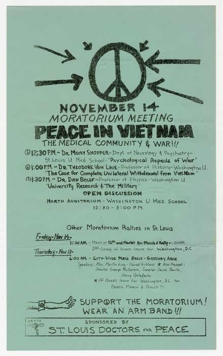 Flyer, Moratorium teach-in, Peace in Vietnam, The Medical Community & War