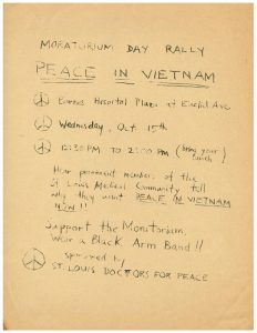Early flyer for the Moratorium Day Rally, Oct. 15, 1969.