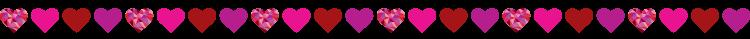 Horizontal divider line of hearts
