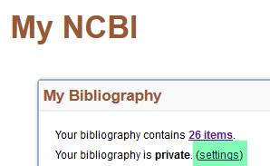 My Bibliography - Settings