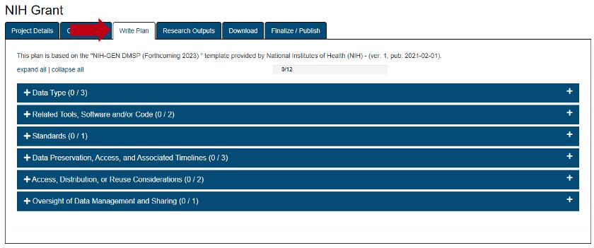 NIH Grant Write Plan