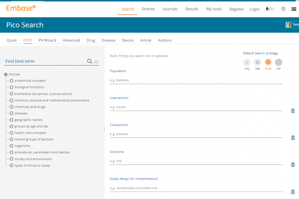 Embase PICO search tool screenshot