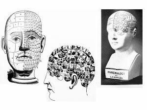 Phrenology heads: Maps of characteristics on the cranium
