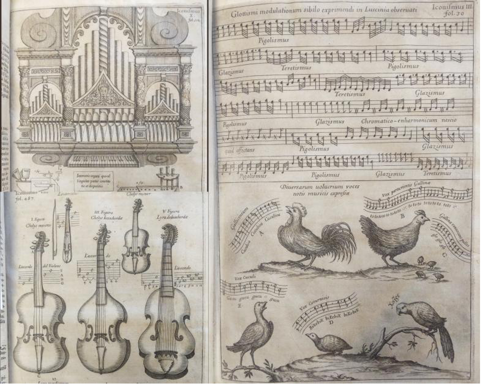 Engravings depicting instruments and musical notation