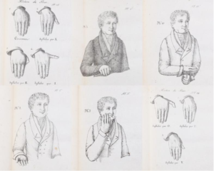 Depictions of various hand signs, with some focused on the hands and others depicting a man demonstrating the signs