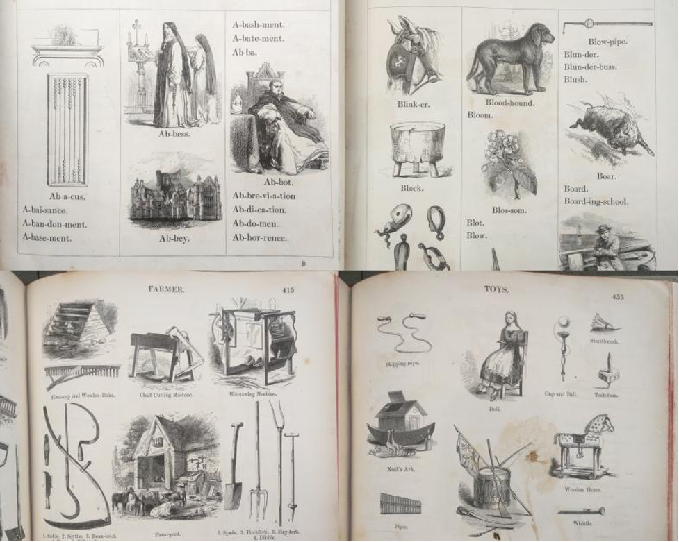 Various labeled illustrations. Top: Images and terms arranged in alphabetical order (A, B) Bottom: Images and terms arranged by topic (farmer, toys)
