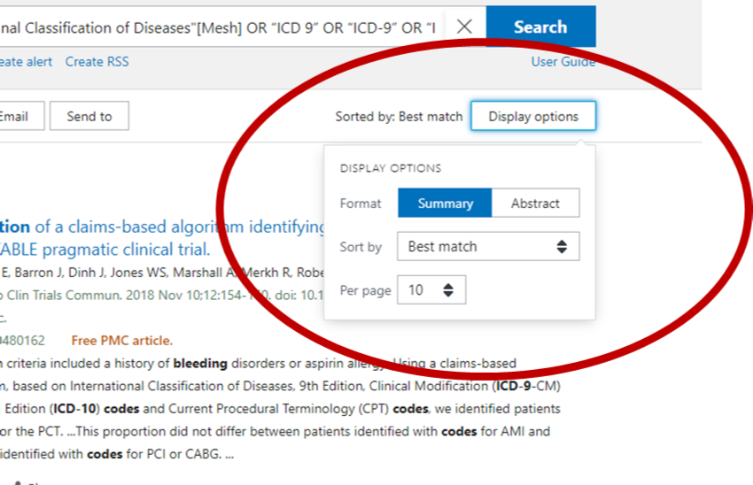 PubMed screenshot