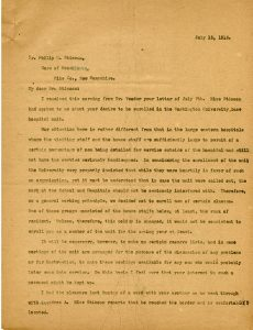 Letter from Dr. Fred T. Murphy to Philip N. Stimson, 15 July 1916.