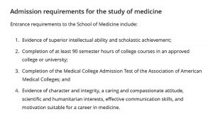 Admission requirements for the study of medicine at WashU in 2017.
