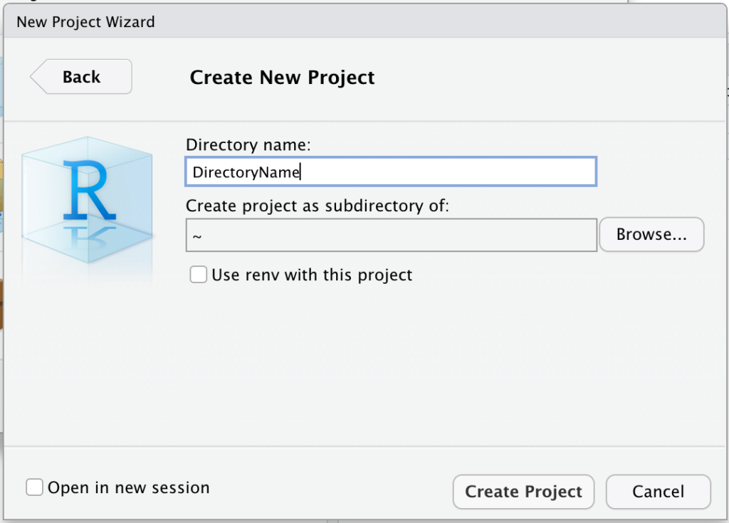 The New Project Wizard in RStudio