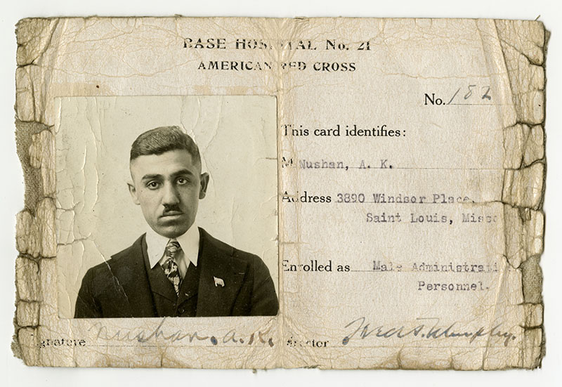 Nushan's American Red Cross ID card, May 1917