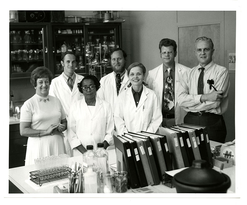 Lenabell Bell and Chaplin with other members of Chaplin's lab, 1972.