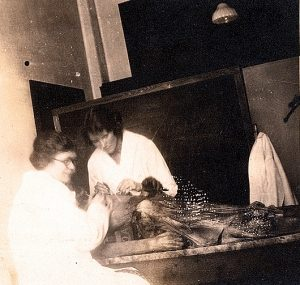 Mildred Trotter, Caroline Whitney working on our stiff, VC170064