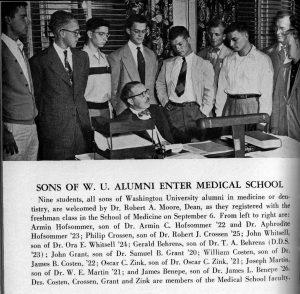 Sons of WashU alumni registering for freshman class, 1950