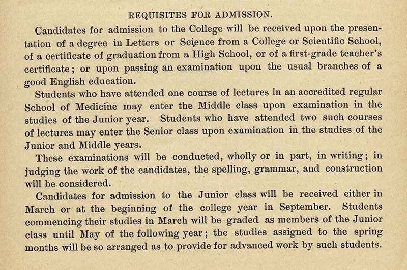 Requisites for Admission to Washington University's Medical Department in 1891.