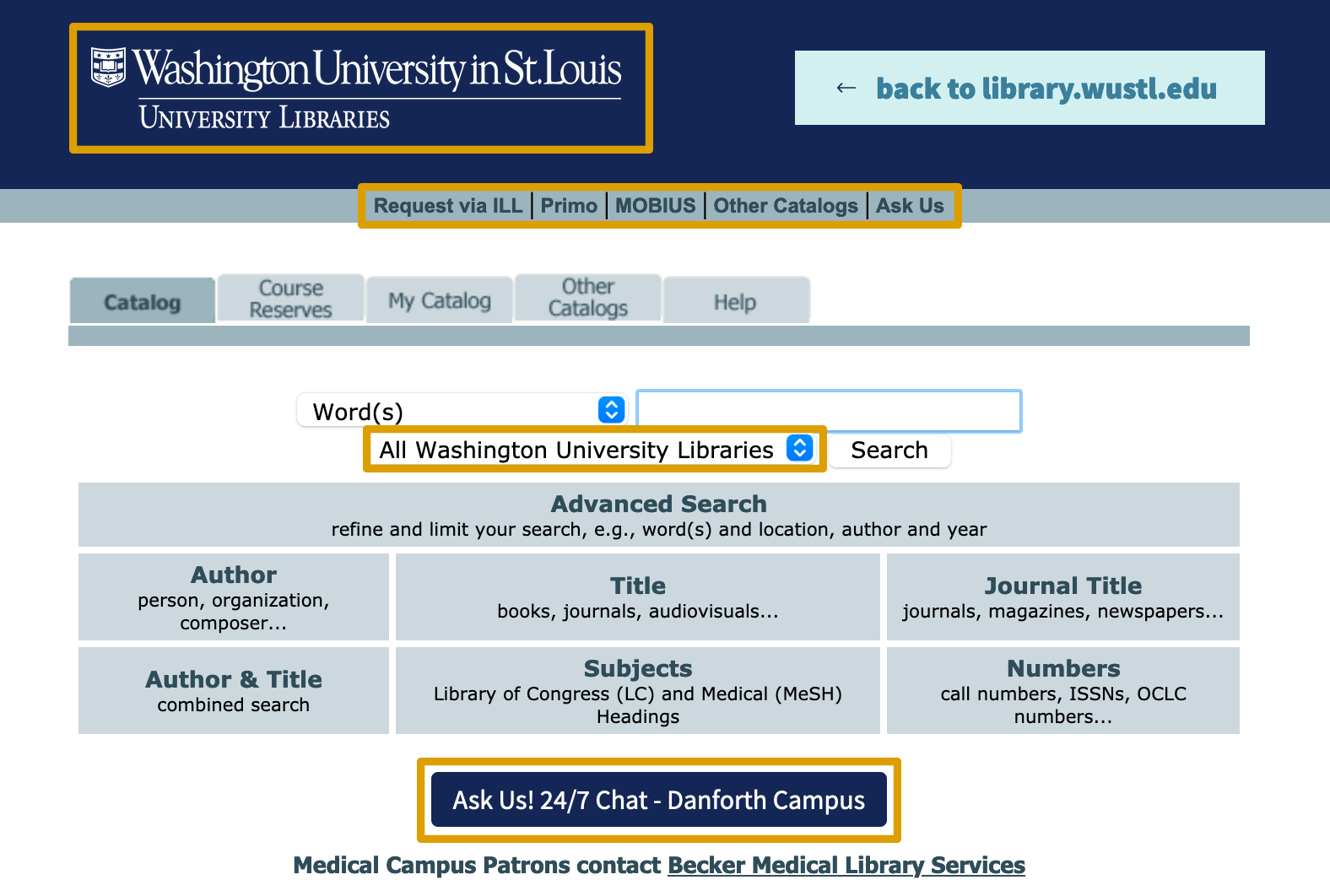 Screenshot of the all libraries catalog