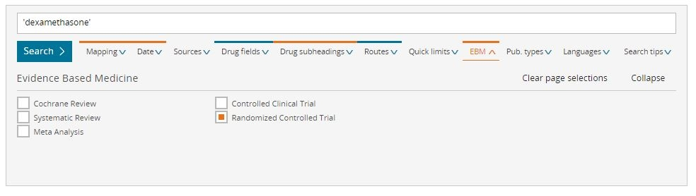 Embase drug search screen shot