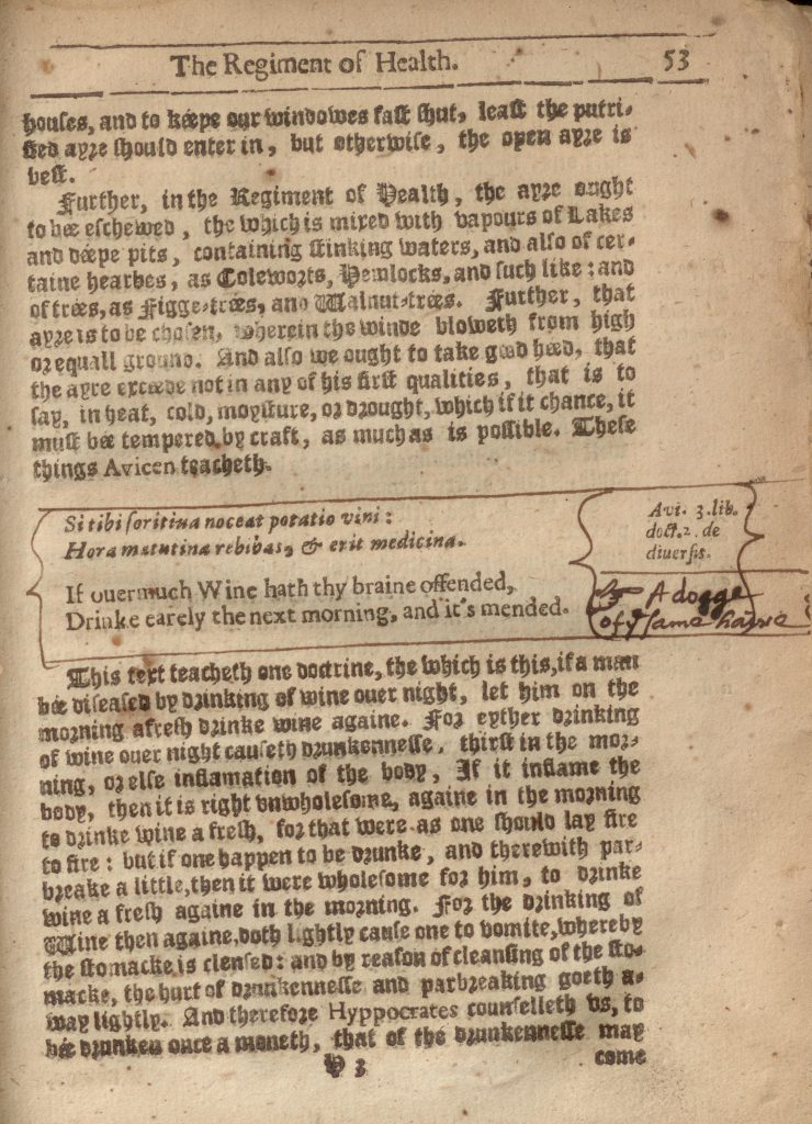 "1634 copy of the ""Salernitan Regimen of Health"" with manicule and note"