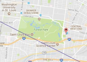 "Map showing medical campus just north of the ""path of totality"""