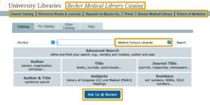 Screenshot of the new Becker catalog